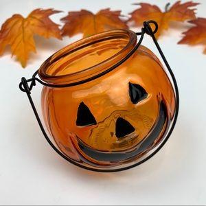 Other - Glass Pumpkin Handle Lantern Candle Holder